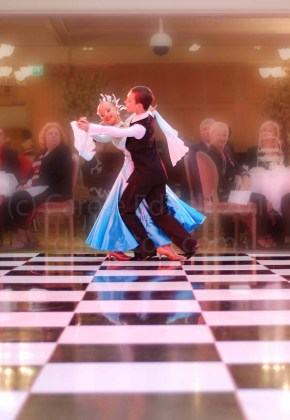 Young ballroom dancers performing at Harrods Tea Room