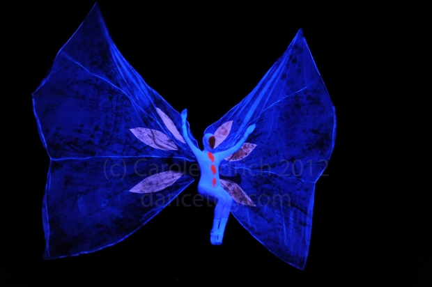 Dancer as butterfly LCP Dance Theatre troupe dancing Rights (?) at Bernie Grant Arts Centre