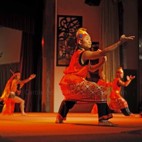 Iban dancer demonstrating a fighter's strength