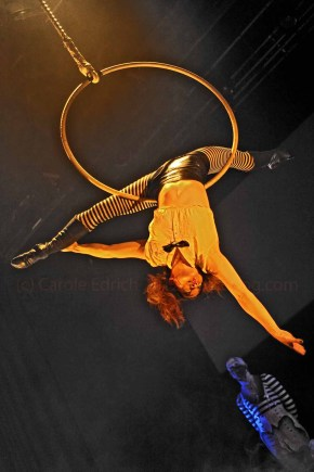 Jackie Le on the hoop at Top Hats and High Heels Cabaret