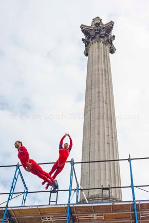 SurprisesSTREB perform Human Fountain in Trafalgar Square