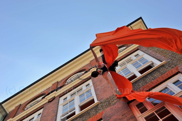 Will on the silks at the Big Dance Bus in Islington