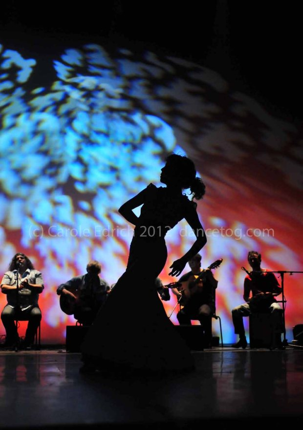 Silhouette of dancer performing in Escuela de Baile School Spectacular
