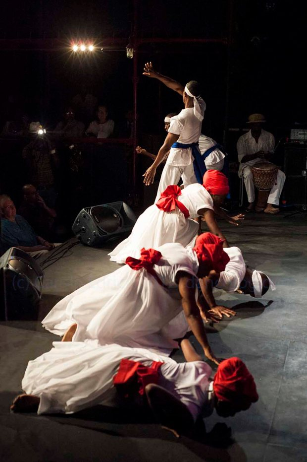 Performers of Belmont Freetown at the launch of the Trinidad and Tobago Cultural Village