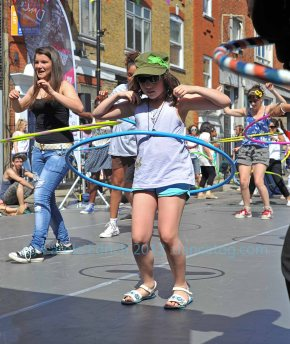 Learning a hoop dance routine with the Big Dance Bus in Islington