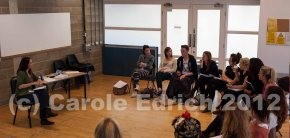 Students at Rose Bruford in Tanja Raste's workshop on business skills for performers