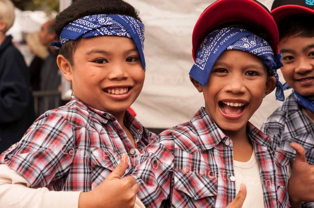 Malaysian children relaxing before their final South Bank performance, marking the end of Malaysia Week 2012