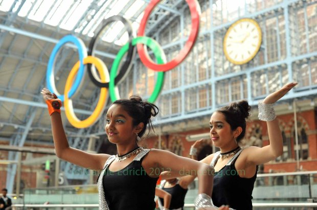 Dancers celebrating the official launch of Big Dance 2012 at St Pancras Station