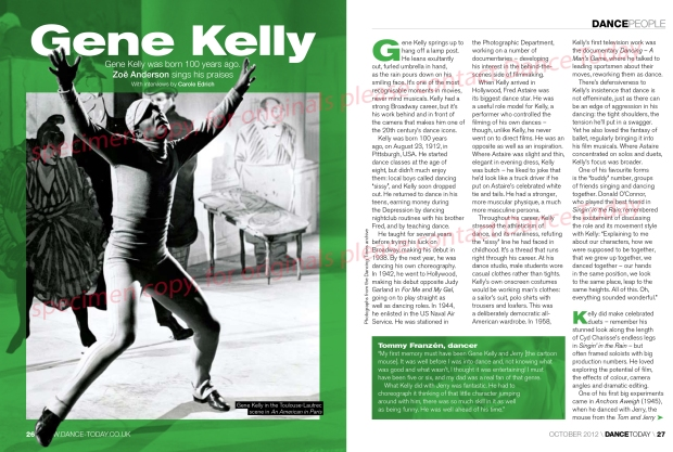 Gene Kelly article in Dance Today page 1