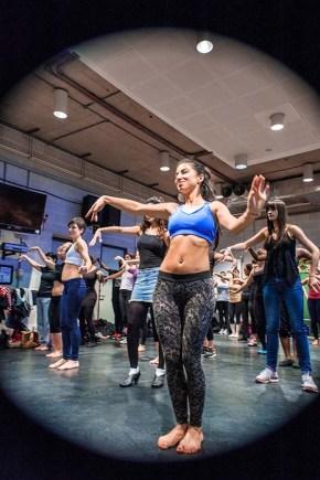 Suzanna Molnár leading a belly dance taster workshop at a studio in Lilian Baylis Theatre, Sadler's Wells, (c) Carole Edrich 2013