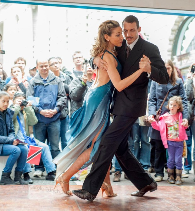 Raquel Greenberg and partner dancing a milonga at the Argentina stand in Regents Street, (c) Carole Edrich 2013