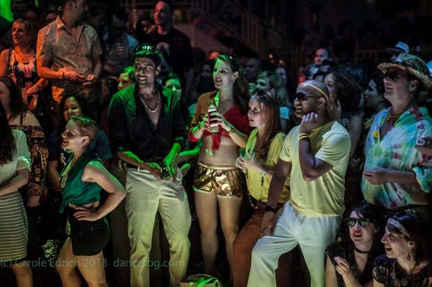 Audience at the last of the Saturday Night Fever Secret Cinema, London. (c) Carole Edrich 2013.