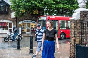 Margot Przymierska in the rain in Wanstead, London. (c) Carole Edrich 2013