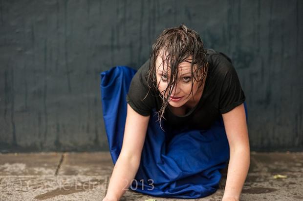 Margot Przymierska in the rain, (c) Carole Edrich 2013