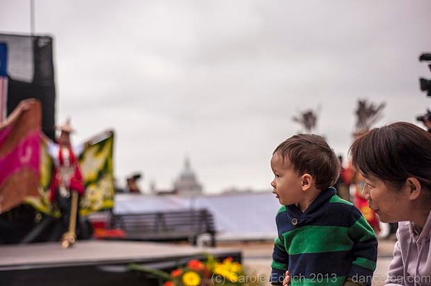Little Boy fascinated by Malaysian dancers at Visit Malaysia Week on London's South Bank, (c) Carole Edrich 2013