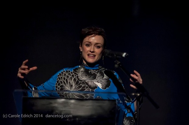 Poet Sabrina Mahfouz hosts the IdeasTap event, (c) Carole Edrich 2014