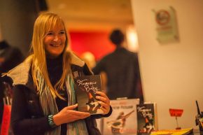 Cherry Radford with her second book at Sadler's Wells Flamenco Festival, (c) Carole Edrich 2014