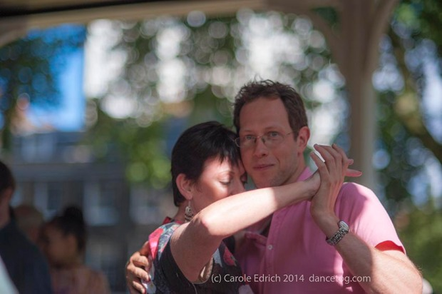 Kat and Donald dancing tango at Milonga Gratis, Northampton Square, London on Sunday. (c) Carole Edrich 2014