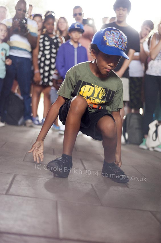 Young person dancing at The Bridge, an annual event celebrating Hip-Hop culture under the Hungerford Bridge at London's South Bank