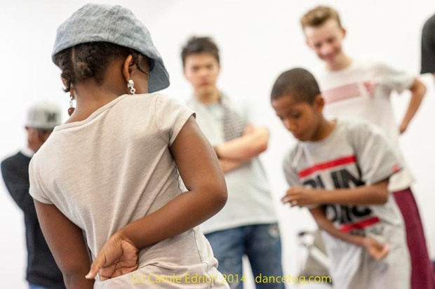Dancers of all ages warming up in a social before a workshop at Popin' Pete's Pop Shop, a three day celebration of body popping and hip-hop culture for the whole family at the London Newcastle Space. (c) Carole Edrich 2014