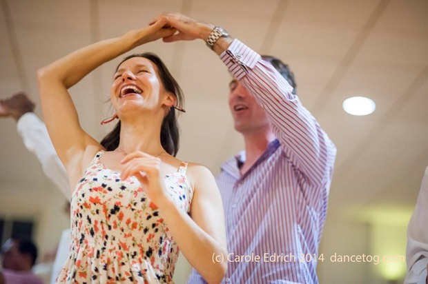 Social dancers in circle at Last Day of Summer Party, (c) Carole Edrich 2014
