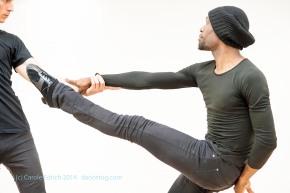 Lemington Ridley and Nejc Just illustrate use of ballet techniques to improve Latin body lines in Lemington's Masterclass, (c) Carole Edrich 2014