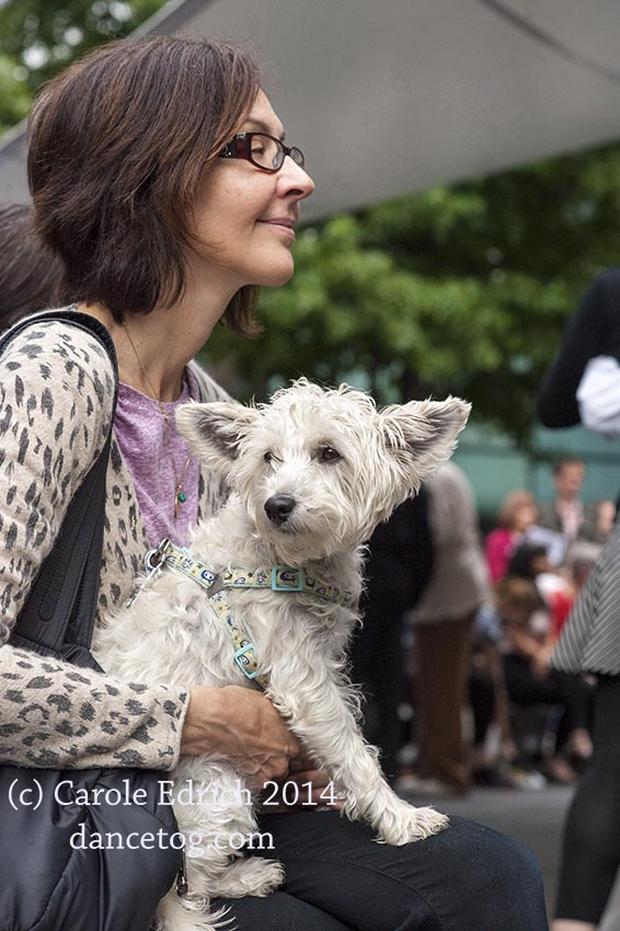 Woman and dog at Spitalfields Tango, Sunday 14th September. (c) Carole Edrich 2014