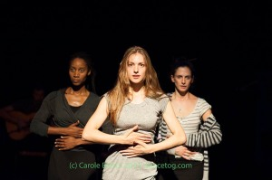Dot Dot Dot in rehearsal, left to right Yinka Esi Graves, Magdalena Mannion, Noemi Luz (c) Carole Edrich 2014