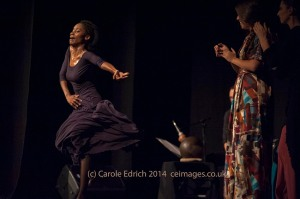 Yinka Esi Graves (left) in Dot Dot Dot's production 'No Frills' (c) Carole Edrich 2014<