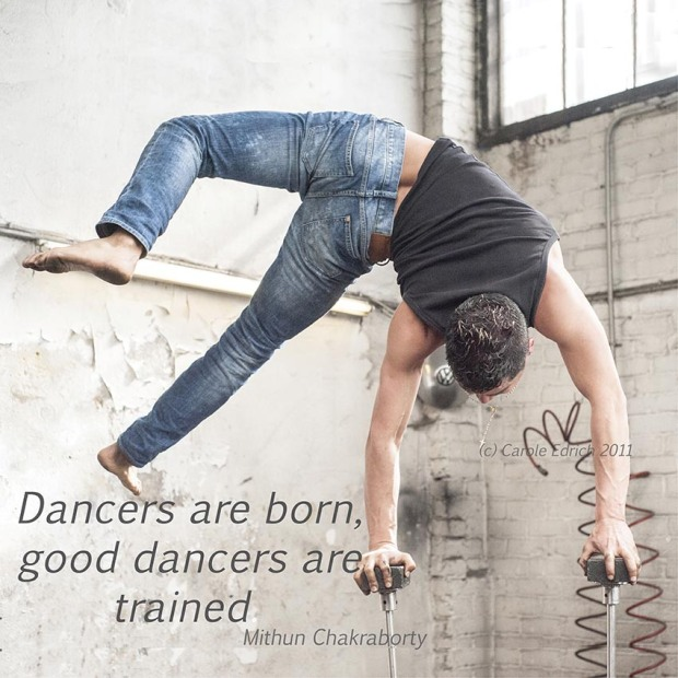 Felipe Reyes hand balancing and quote from Mithun Chakraborty, (c) Carole Edrich 2011