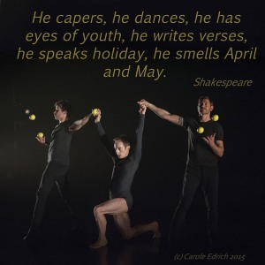 Image of Gandini Juggling's collaborative performance with the Royal Ballet and a quote from Shakespeare