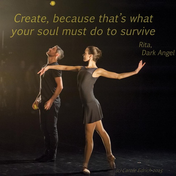 Gandini Juggling and a quote from Dark Angel, (c) Carole Edrich 2015