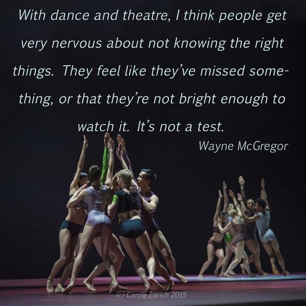 Wayne McGregor | Random dance's ATOMOS and quote by McGregor, (c) Carole Edrich 2015