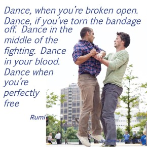 Dancers at Canary Wharf and quote by Rumi, (c) Carole Edrich 2010