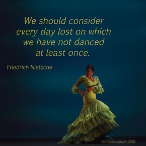 Dancer from Gala Flamenco, Sadler's Wells Flamenco Festival and quote from Nietzche, (c) Carole Edrich 2015