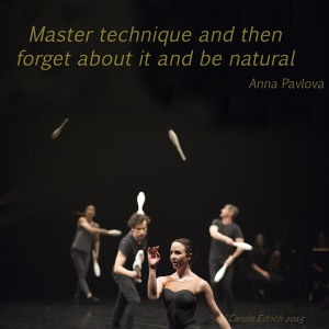 Picture of the Gandini Juggling performance with the Royal Ballet and quote by Anna Pavlova