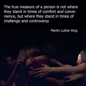 One Youth Dance performers congratulating their Principal, Jo Shaw and quote by Martin Luther King, (c) Carole Edrich 2014,2015