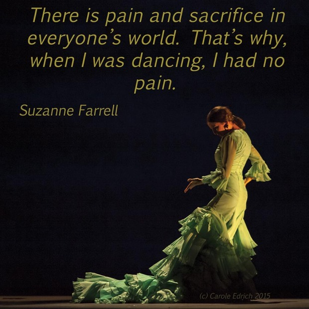 Dancer from Gala Flamenco, Sadler's Wells Flamenco Festival and quote from Suzanne Farrell, (c) Carole Edrich 2015