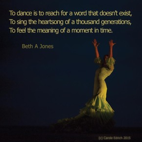 Dancer from Gala Flamenco, Sadler's Wells Flamenco Festival and quote from Beth Jones, (c) Carole Edrich 2015