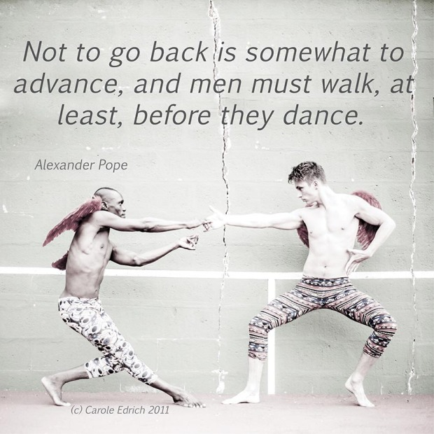 Nejc Jus and Lemington Ridley dancing al fresco and quote by Alexander Pope, (c) Carole Edrich 2011-5