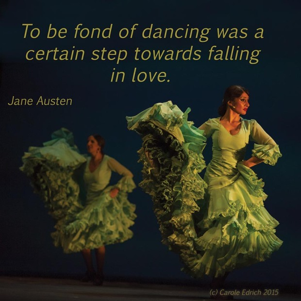 Dancers from Gala Flamenco, Sadler's Wells Flamenco Festival and quote from Jane Austen's Pride and Prejudice, (c) Carole Edrich 201