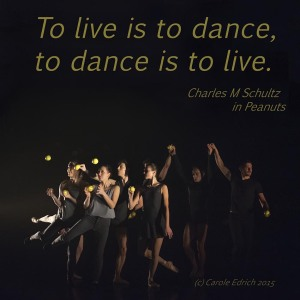 Image of Gandini Juggling's performance with the Royal Ballet and quote by Charles M Schultz