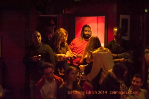 This shot shows a group of friends talking during a flamenco show (España On Fire) at Ronnie Scotts. It is composed to make them look comfortable in their environment.