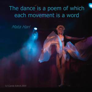 Quote from Mata Hari and shot of dancer from Milo Miles' Cabaret