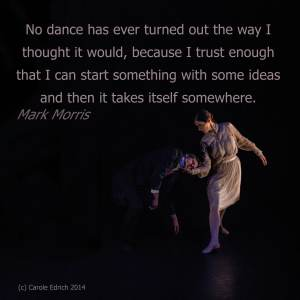 Photograph of Yorke Dance's Wordsworth and a quote from Mark Morris