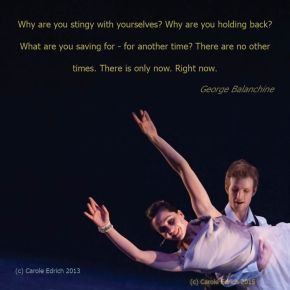 Quote by George Balanchine and image of Yorke Dance's Wordsworth