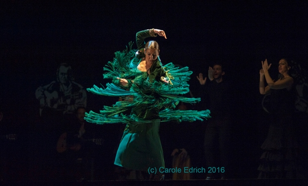 Sara Baras , who opened the 2016 Sadler's Wells Flamenco Festival with her piece Voces, Suite Flamenca, performing Solea por Bulerias.