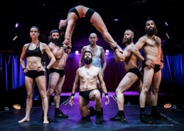 Barbu acrobatic troupe photocall on the Southbank - London