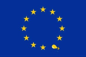 EU Stars flag with tear shaped arrow pointing outwards, (c) Carole