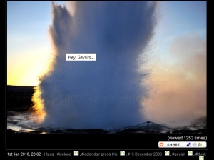 Geysirs in Iceland, a screen grab of images posted on moblog, (c) Carole Edrich, 2009